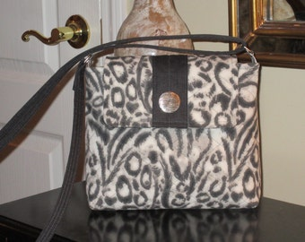 Black, Gray and White Animal Print with Velcro Flap Closure Quilted Crossbody/Shoulder Bag, Quilted Tablet Bag