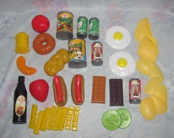Vintage Play Food Set - Eggs, Chips, Fries, Hot Dogs, Donut, Canned Goods, Chocolate Bars - Plastic/Pretend Food