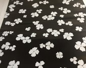 1970s Vintage wallpaper- white flowers on black background-by the yard