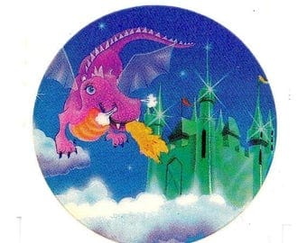 SALE Rare Vintage Lisa Frank Flying Winged Purple Dragon and Castle Sticker 80's