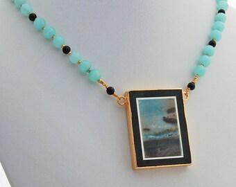 Picture Stone Pendant Quartz Onyx Designer Necklace