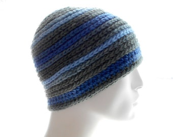 Wool Men's Beanie, Crocheted Hat in Blue and Gray Stripes, Medium to Large Size