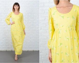 Vintage 70s Yellow Boho Hippie Dress Daisy Flower Floral Polka Dot Print Maxi XS 8881