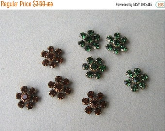SALE Swarovski Crystal Small Flower Embellishments You Choose Tourmaline Green or Smoke Topaz (4)