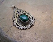 Vintage Silver Turkmen Charm, Antique Malachite Pendant, Oxidized 925 Silver Filigree Teardrop, Malachite Briolette, Afghani Jewelry Ethnic