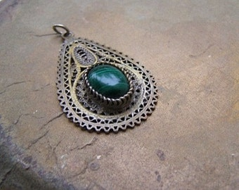 Vintage Silver Turkmen Charm, Antique Malachite Pendant, Oxidized 925 Silver Filigree Teardrop, Malachite Briolette, Afghani Jewelry Ethnic