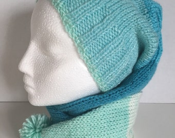 Knitted Stocking Cap with Pom Pom Teal and Aqua Warm Hat Toboggan