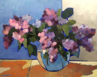 """Lilacs in Water 16"""" x 20"""" Colorful Still Life Oil Painting on Canvas"""