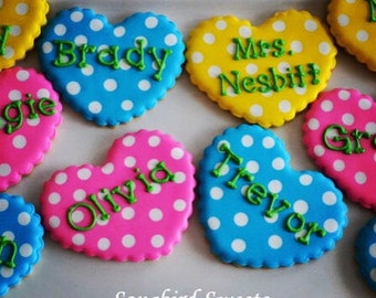 Personalized Heart Cookies, Valentine's Cookies, Polka Dot Heart Sugar Cookies (1 Dozen)