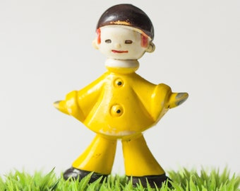 Rare Soviet kid's toy Arlekino, cheerful little man Harlequin, small plastic toy USSR 60s, kids room decor yellow Arlekino toy