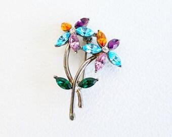 Vintage Jewelry Midcentury Jewelry Silver Pin Brooch Flower Pin Brooch Crystal Flower Pin Vintagfe Monet Jewelry Monet Pin Purple Pink Blue