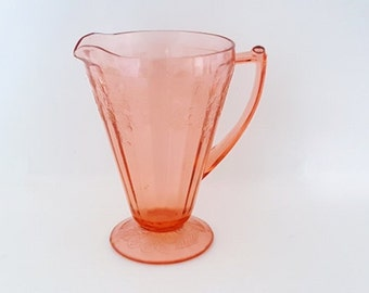 Antique Depression Glassware Pink Depression Glass Jeanette Glass Pitcher Pink Jeanette Cherry Blossom Pattern  Cone Shape 32 oz Pitcher