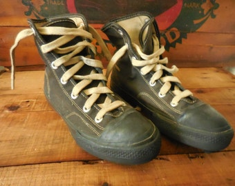Late 1950s early 1960s Black Converse Chuck Taylor Football HIgh Top Cleats