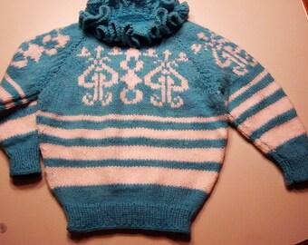 Girls Sweater with Ruffles size 5-6 aqua blue & white ornament