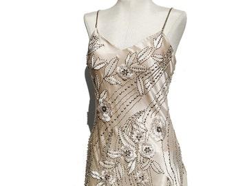 Light Beige Satin & Chiffon Cocktail Dress / Embroidery Flower Beaded Dress