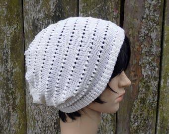 knit hat, knitted cotton beanie, knit summer hat, knitting lace white cap, cotton sun hat, women men tam, cotton accessories, spring hat