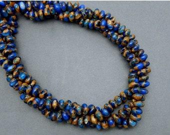 10% off Halloween SALE Dark Blue Rondelle Agate Mosaic Beads -- 8mm Rondelle Mosaic Beads-- 1 STRAND (S80B8-04)