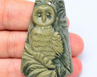 Jasper Carved owl Pendant Bead