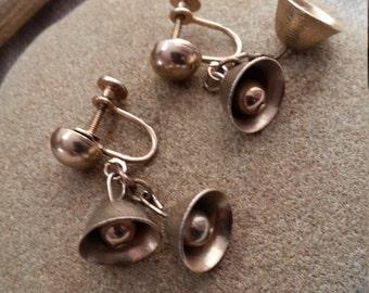 Silver Bells Vintage Screw Back Earrings, Christmas Earrings Post Dangles