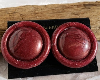 Giant 80's Reddish Purple Lucite Button Clip On Earrings