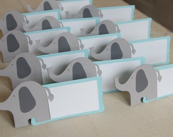 Elephant Place Cards, Elephant Food Labels, Elephant Seating Cards, Elephant Baby Shower, Elephant Food Labels, 12 Pcs, Aqua