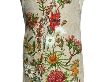 Metro Retro Australian WILDFLOWERS  Vintage Tea Towel HANDMADE Kitchen Apron - Mother's Day , Birthday Gift  - OOAK