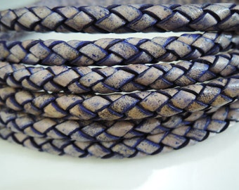 1 Yard of 6mm Antique Violet ( Purple ) Round Braided Bolo Genuine Leather Cord