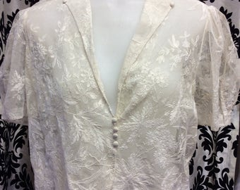 Delicate Edwardian Pearl Lace Blouse with Puffed Sleeves