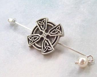 Celtic Cross Shawl Pin, Silver Lapel Pin, silver, pewter, button shawl pin, sweater pin, hat pin, silver scarf pin