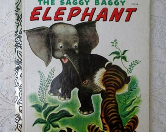 HOLIDAY SALE 20% Off The Saggy Baggy Elephant, Vintage Collectible Children's Little Golden Book, Illustrated by Tenggren