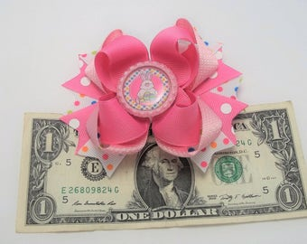 Pink Easter Bunny Hair Bow, Handmade Easter Hair Bow, Easter Bunny Hair Clip, Boutique Hair Bow, Easter Bunny Hair Accessories