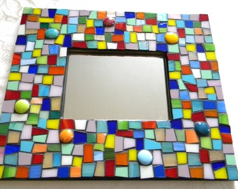 Stained Glass Mosaic Accent Mirror - Multi-Color - Medium Size