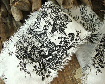 French Country Black and White Toile Hand Frayed Ribbon Trim