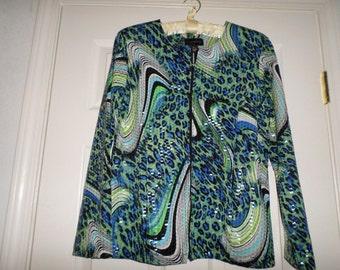 90s Light Jacket Wet Look Medium Blue Padded shoulders Zip Up Top Blouse Abstract