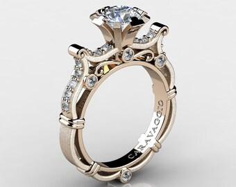 Caravaggio Venetian 14K Rose Gold 1.0 Ct White Sapphire White Diamond Engagement Ring R638-14KRGSDWS