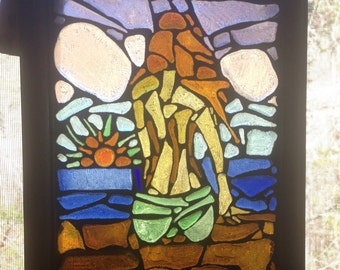 """Recycled glass mosaic girl sitting on the dock at sunset 12 1/2""""x9 1/2"""""""