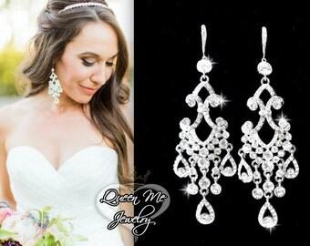 """Chandelier earrings ~ 4"""" Long ~ Rhinestone earrings ~ Sterling Silver ear wires ~ Bridal jewelry ~ Pageant jewelry ~ Statement earrings"""
