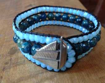 Schooner Blue Apatite Leather Cuff Bracelet Czech Glass Beads