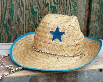 Retro Straw Cowboy Hat - Kids Sherrif Hat, I'm Sherrif, Costume Straw Hat, Dress Up Like Woody, Vintage Sherrif, Playing Cowboys + Dress Up