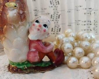 Kitsch Vintage Old Man Pottery Vase - Mid Century Art Pottery Gnome Woodland Nymph Flower Holder, Mini + Windowsill Vase, Elf Collection