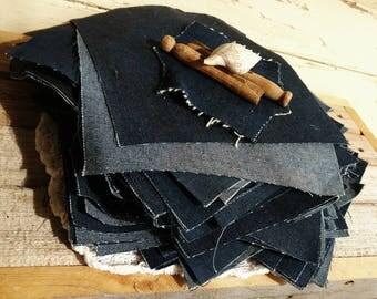 1950's Dark Blue Denim Fabric Squares - 80 Retro Denim Crafting Material, Vintage Cotton Denim Blue Jean Material, Denim Quilting Supplies