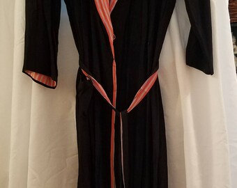 1940s Blue Crepe Robe Dress by NADA Fashions For Best & Company