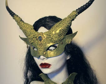 Green Fae Witch mask & collar