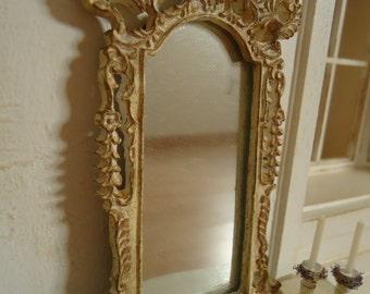 Vintage mirror. Dollhouse miniature. 1/12th scale