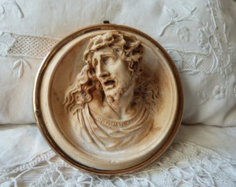 Antique French meerschaum sculpture w Jesus Christ handcarved 1800s limestone religious statue framed christian medallion icon relic frame