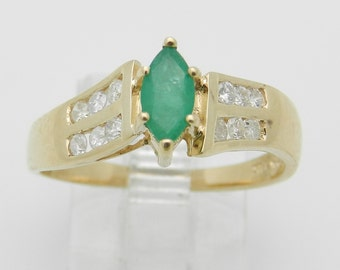 Emerald and Diamond Engagement Ring Promise Ring 14K Yellow Gold Size 7.5