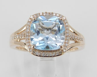 Diamond Emerald and Blue Topaz Halo Engagement Ring Cushion Cut Rose Pink Gold Size 7