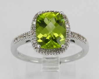 Peridot and Diamond Halo Engagement Promise Ring White Gold Size 7 Cushion Cut August Birthstone