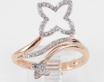 Diamond Clover Bypass Flower Cluster Modern Ring Rose Pink Gold Size 7