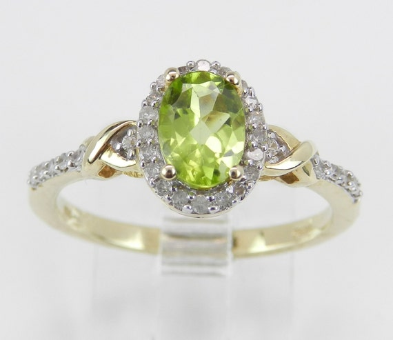 Peridot and Diamond Halo Engagement Ring Yellow Gold Size 7.25 August Gem